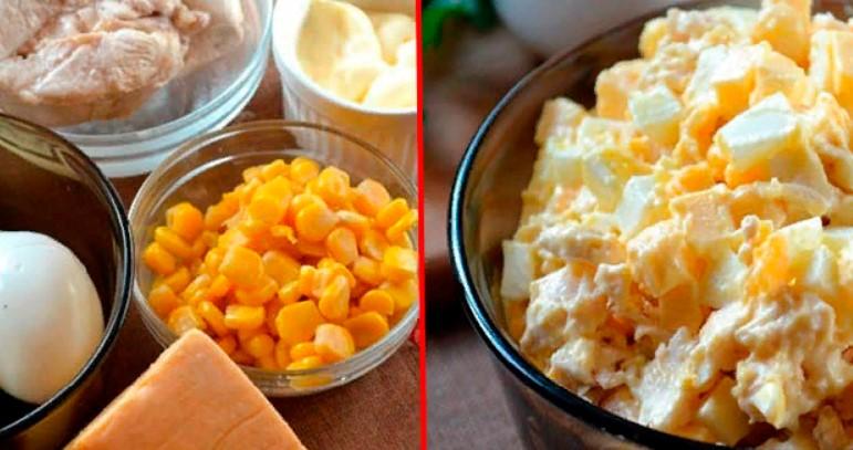 Кукурузный салат с куриной грудкой– очень вкусно!